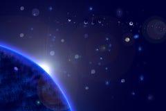 Erde - Sonnenaufgang mit Strahlen und Blendenfleck Lizenzfreies Stockfoto