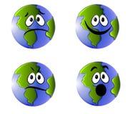Erde stellt Emoticons-Ikonen gegenüber Stockbilder