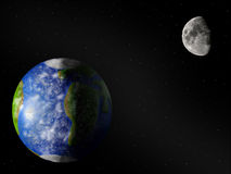 Erde u. Mond stockfoto