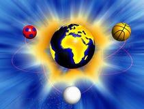 Erde umgeben durch Sportkugeln Stockfotos