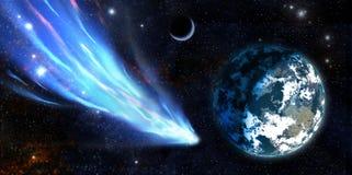 Erde und ein Komet Stockfoto