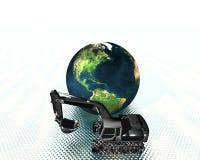 Erde und Exkavator Lizenzfreies Stockbild