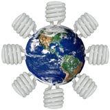 Erde und Leuchtstoffleuchten stockfoto