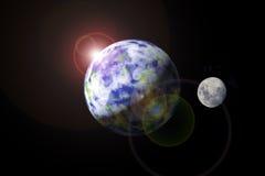 Erde und Mond Lizenzfreie Stockfotografie