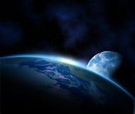 Erde und Mond im Platz Stockfoto