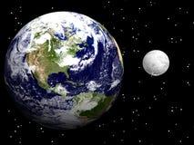 Erde und Mond mit USA Stockbild