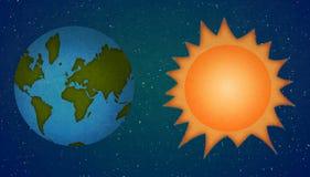 Erde und Sun, Planetenkarikaturart lizenzfreie abbildung