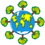 Erde und viele grünen Bäume lizenzfreie abbildung