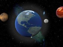Erde, Venus, Mond und beschädigt Stockbild