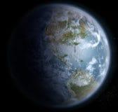 Erde vom Raum mit Nord-, zentralem und Südamerika Lizenzfreie Stockfotografie