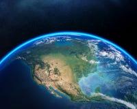 Erde vom Raum Nordamerika stockbild