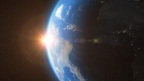 Erde von den Raumsonnen-Lichtsternen - 3D Animation 4K stock abbildung