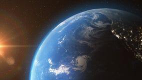 Erde von den Raumsonnen-Lichtsternen - 3D Animation 4K vektor abbildung