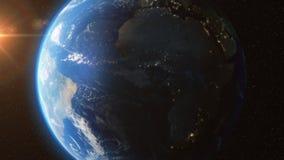 Erde von den Raumsonnen-Lichtsternen - 3D Animation 4K lizenzfreie abbildung