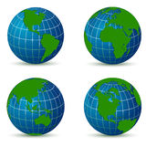 Erde von der unterschiedlichen Winkelkarte mit Schatten Stockfotografie