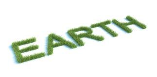 Erde-Wort mit Gras Stockfotografie