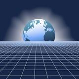 Erdeanstiegkugel über Kommunikationsnetzrasterfeld
