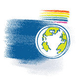 Erdeikone, Regenbogensymbol eingeschlossen Stockfotos