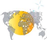 Erdekarte mit Sonne auf Hintergrund Lizenzfreies Stockbild