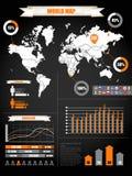 Erdekarte und -Hirsche auf Schwarzem Stockfoto