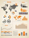 Erdekarte und verschiedene Diagramme Lizenzfreies Stockfoto