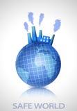 Erdekugel mit Industriefabrik lizenzfreie abbildung