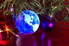 Erdekugel Nordamerika-Weihnachtshintergrund Lizenzfreies Stockfoto
