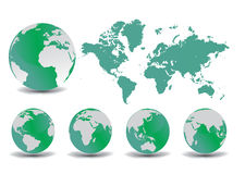 Erdekugel und -karte Stockfotos