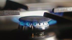 Erdgas, das im Ofenbrenner, Abschluss herauf Ansicht brennt stock video