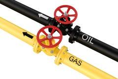 Erdgas- und Ölhauptleitungen. Lieferungen von Betriebsmitteln. Lizenzfreies Stockfoto