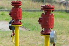 Erdgasleitungsventile Stockfotos
