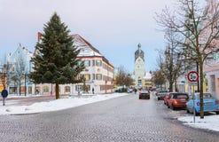 Erding, Germania, la bella torre Schöner Turm Inverno immagini stock libere da diritti