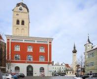 Erding, l'Allemagne, et l'horizon de ville L'hiver photographie stock libre de droits