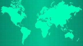 Erdkarte auf modischem grünem Steigungshintergrund Stockfoto