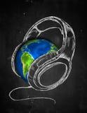 Erdkopfhörer-Musik Hintergrund vektor abbildung