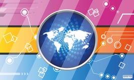 Erdkugel auf Technologie- und Marketing-Hintergrund Lizenzfreies Stockfoto