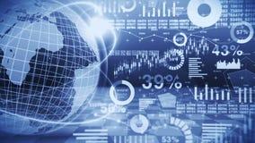 Erdkugel 3d mit Geschäftsdiagrammtechnologie Getrennt auf Wei? Diagramme und Diagramme Cyberschleifenanimation Futuristisches hol stock abbildung