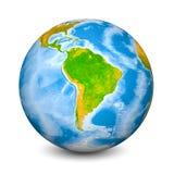 Erdkugel gerichtet auf Südamerika Realistische topographische Länder und Ozeane mit Tiefenmessung Gegenstand 3D lokalisierte an stockfotografie