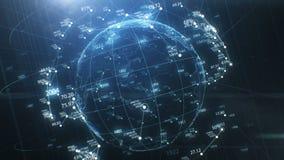 Erdkugel-Hologramm-herum spinnen nahtlos, Netz-wachsen und Zahlen Zusammenfassungs-schöne geschlungene Animation 3d lizenzfreie abbildung