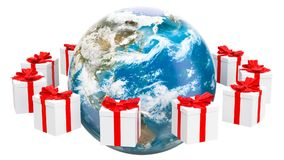 Erdkugel mit den Geschenken, die sich herum drehen Globales Weihnachts- und des neuen Jahreskonzept Wiedergabe 3d stock footage
