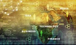 Erdkugel mit Geschäftswörtern Stockfotos