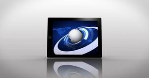 Erdmontage angezeigt auf verschiedenen Medienschirmen lizenzfreie abbildung