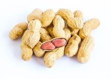 Erdnüsse auf weißem Hintergrund Stockfoto