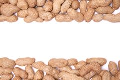Erdnüsse in einer Schale auf einem weißen Hintergrundisolat Stockfotos