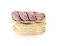 Erdnüsse getrennt auf weißem Hintergrund Stockfotos