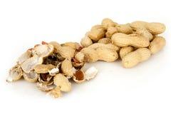 Erdnüsse mit Oberteil auf einem weißen Hintergrund Stockfoto