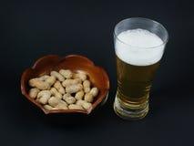 Erdnüsse und Bier Lizenzfreies Stockbild