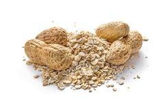 Erdnüsse und Hafermehl Stockfotos
