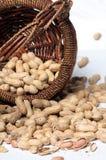 Erdnüsse und Korb Stockfotos