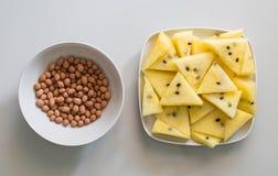 Erdnüsse und Wassermelone Stockbild